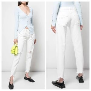 MOUSSY VINTAGE Deming Tapered White Jeans SIZE 25
